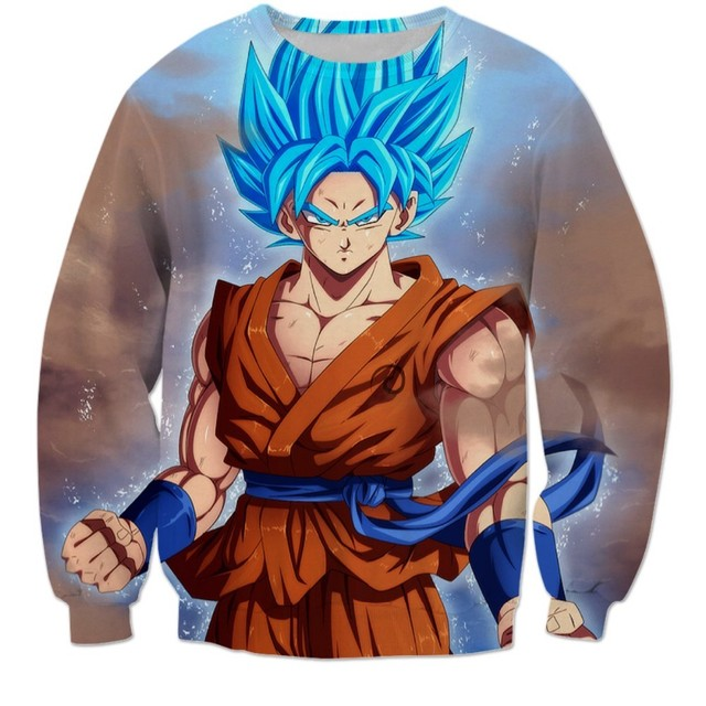 Anime Dragon Ball Z Goku 3D Sweatshirt Fashion Crewneck Super Saiyan 3D Print Pullover Outerwear Men Hipster Sweatshirt