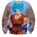 Anime Dragon Ball Z Super Saiyan Goku 3D Sudadera de Cuello Redondo de La Manera 3D Print Pullover Sudadera prendas de Vestir Exteriores de Los Hombres del Inconformista