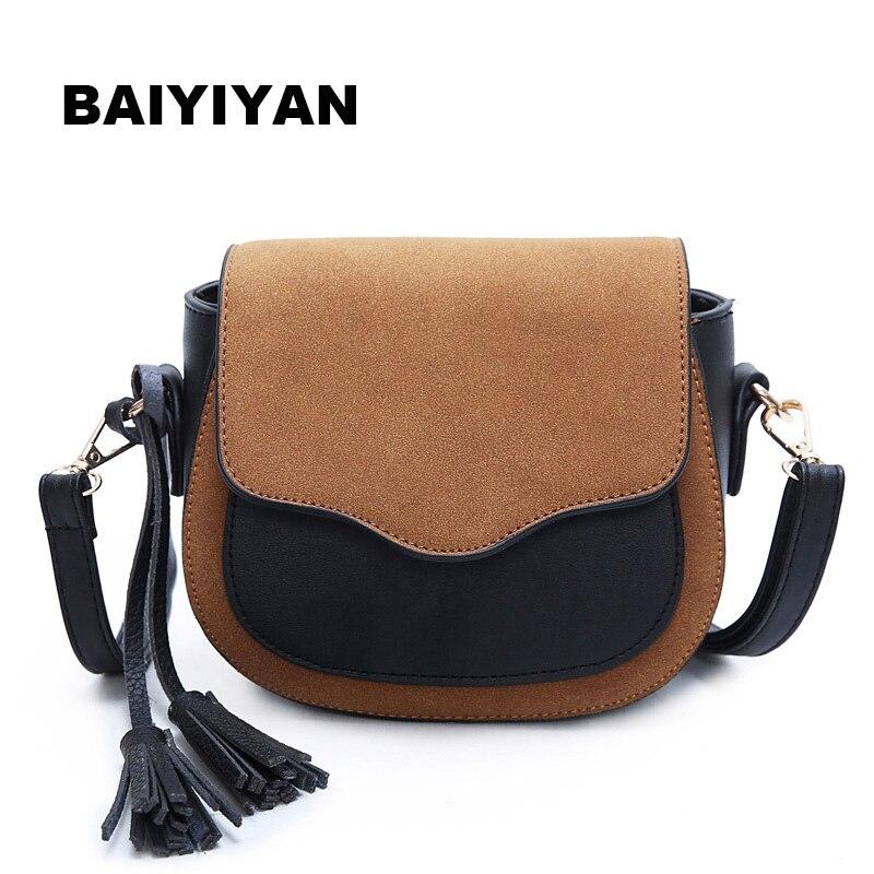 Nové Tassel Dámská ramenní taška Hit Barva Malá taška Dámské PU kůže Crossbody Bag Retro Messenger Bag