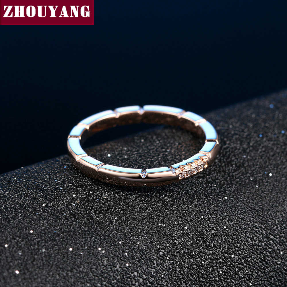 สไตล์เรียบง่ายแหวนหมั้น Micro-แทรก Cubic Zirconia Rosegold สีแฟชั่นเครื่องประดับสำหรับคนรักชายหญิง ZYR493