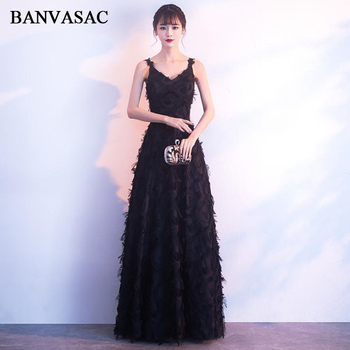 BANVASAC Elegant V Neck A Line Feathers Long Evening Dresses 2018 Spaghetti Strap Tulle Backless Party Prom Gowns