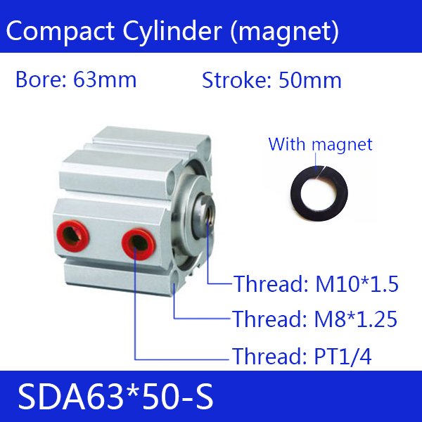 SDA63*50-S Free shipping 63mm Bore 50mm Stroke Compact Air Cylinders SDA63X50-S Dual Action Air Pneumatic Cylinder
