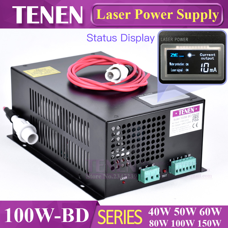 100W-BD With Display screen CO2 Laser Power Supply 100W 110V / 220V High Voltage For Engraving Cutting Machine Laser Tube100W-BD With Display screen CO2 Laser Power Supply 100W 110V / 220V High Voltage For Engraving Cutting Machine Laser Tube