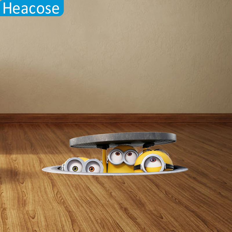 4 style 3D Sewer Minions Wall Stickers for Kids Rooms and Kindergarten PVC Car Stickers Despicable Me Poster Home Decor