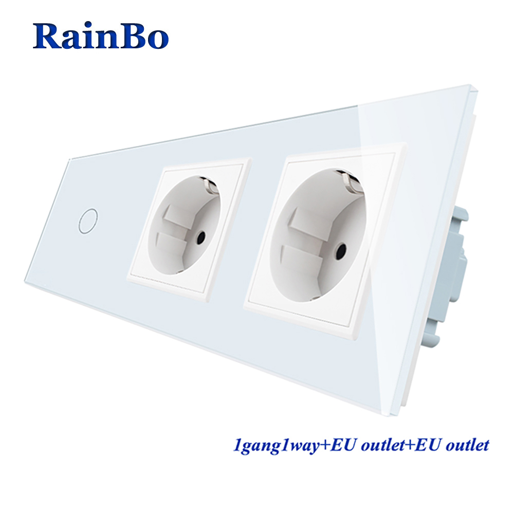 RainBo Crystal Glass Panel Electronic Wall Socket EU Touch Switch Control Screen Wall Light Switch 1gang