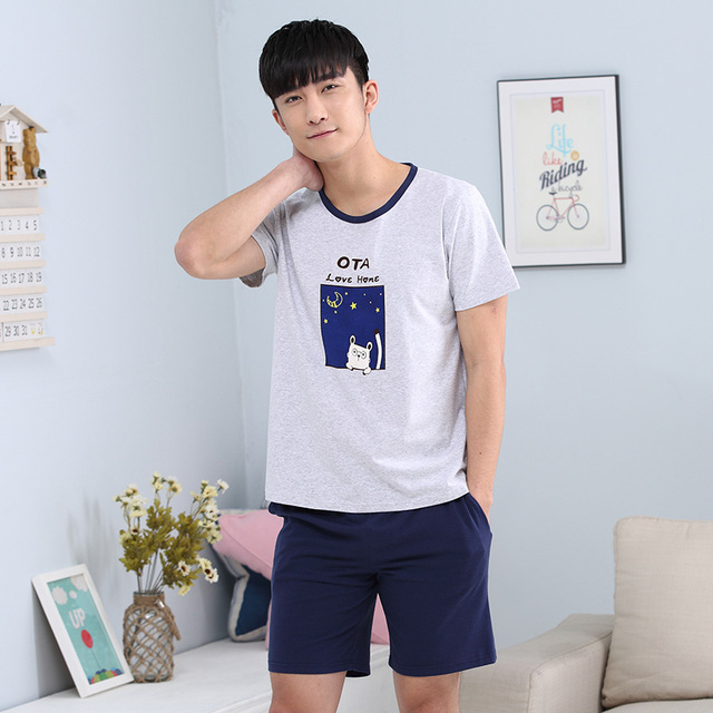 New Brand Lovers Cotton Pajamas Sets Women's Sleepwear Nighty Mens Pajamas  Men's  Sleep&Lounge Homewear Fashion Clothing