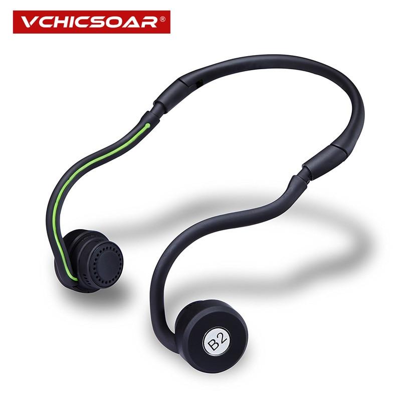 цена на Vchicsoar B2 Folding Bone Conduction Wireless Headset Stereo Bluetooth Headphones with Mic Neckband Sports Earphones for Phone