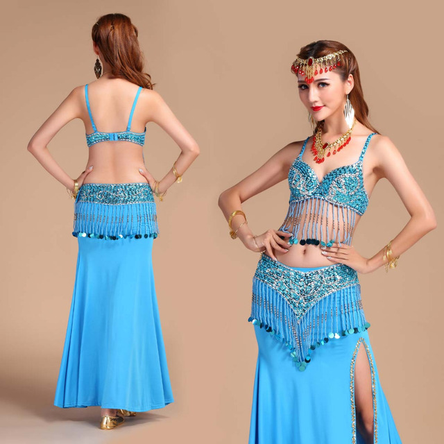 5d3b7811495e3 Lady Belly Dance Costume S/M/L 3pcs Bra&Belt&Skirts Sexy Dancing women  dance clothes Set bellydance wear 4 color Indian Dresses