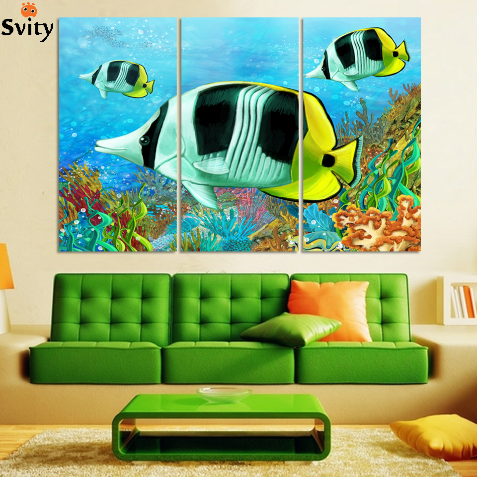 ∞3 piezas hermoso mundo submarino paisaje impresión de la pintura ...