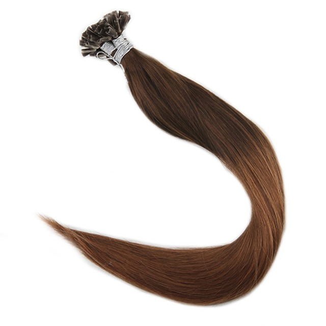 Full Shine Pre Bonded Nail Tip U Tip Hair Extensions Ombre Color4