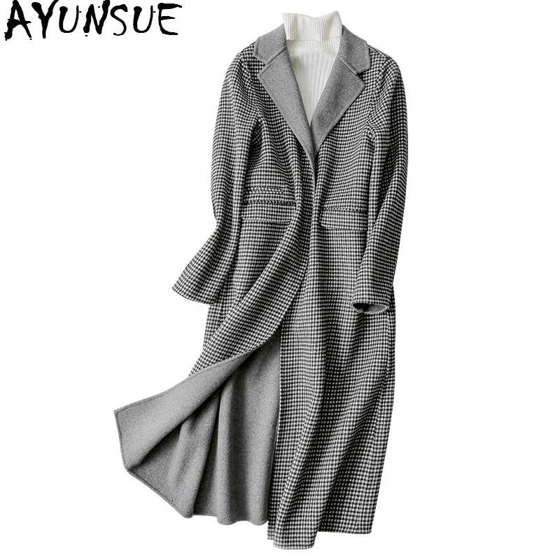 AYUNSUE England Style Long Wool Coat 2019 Women Winter Coats Turn-dwon Collar Plaid Woolen Female Jacket casacos 38010 WYQ1764