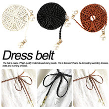 National Style Hot Sell Pearl Knitted Belt New Womens Candy Colors Hemp Rope Braid Female For Dress