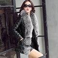Кожа замша толстая вниз пальто женщин зима кожа PU пуховик настоящее фокс меховым воротником бесплатная доставка Новый Феникс 1018B