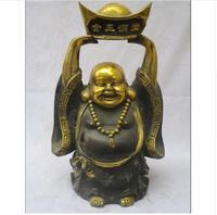 Коллекционная Китайский Старый Бронзовый Резные Золотой свинка Большой Будда Майтрея Скульптура/античная статуя Будды