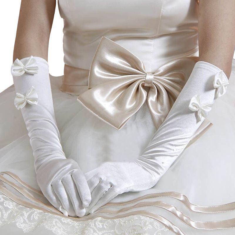 1 Pair Women Bridal White Wedding Long Gloves Double Bowknot Faux Pearl Decor  Length Full Fingered Mittens Warmer Formal