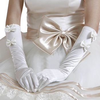 1 Pair Women Bridal White Wedding Long Gloves Double Bowknot Faux Pearl Decor  Length Full Fingered Mittens Warmer Formal Bridal Gloves