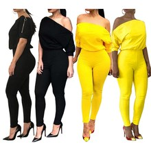 2019 Women Off Shoulder Skinny Bodycon Jumpsuits Zipper Short Sleeve Long Rompers Solid Slim Club Playsuit