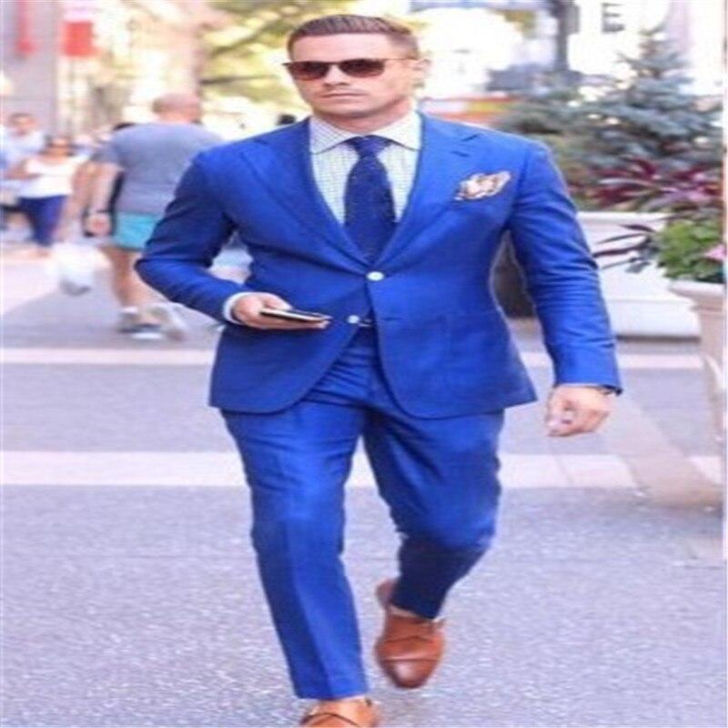 2019 new wedding dress groomsman new Lang dress men's royal blue suit 2 piece set men's wedding best suit suit (coat + pants)