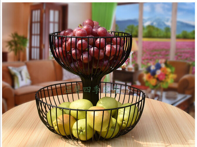 Sitting Room Fruit Bowl Wrought Iron Basket Fashion Creative Two Layers Of