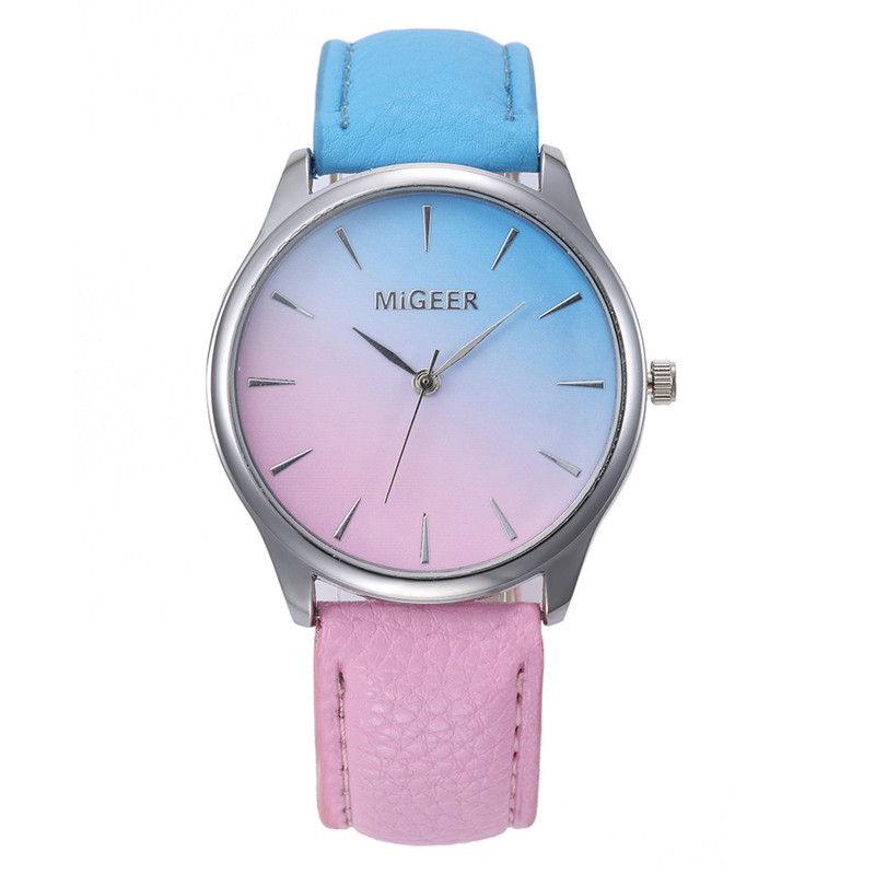 New Fashion erkek saat Quartz Watch Women Girl Retro Rainbow Design Leather Band Wrist Bracelet Watches reloj mujer 2017 ...