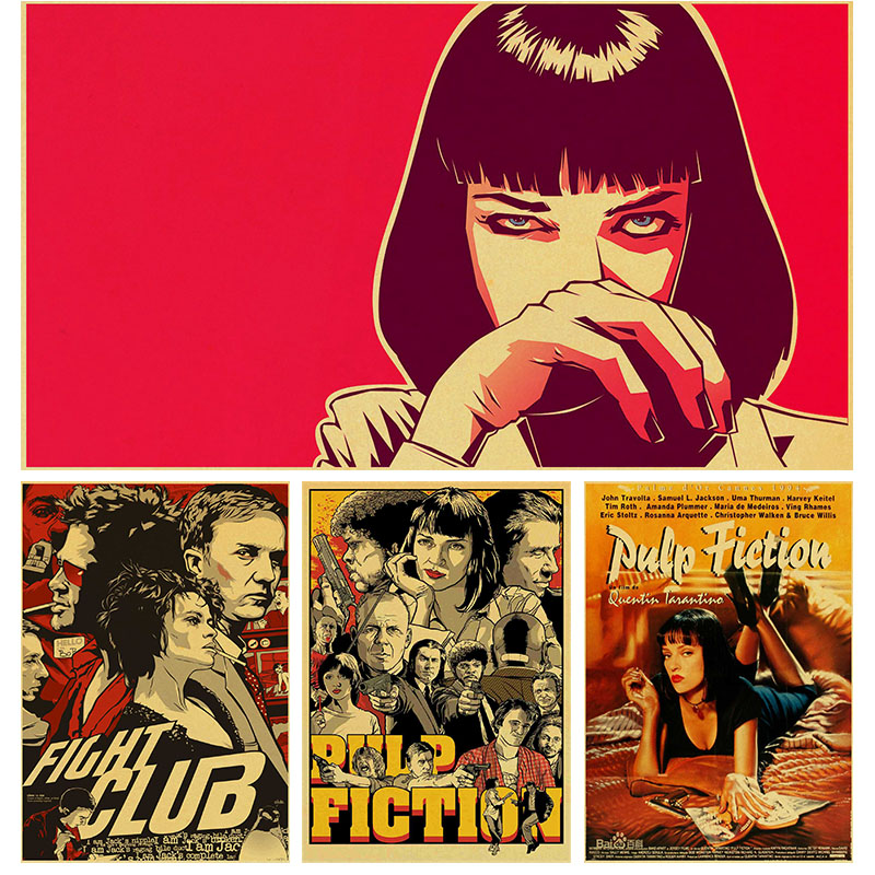 Classic Black Movie Pulp Fiction Smoking Girl Mia Vintage Paper Poster Wall Painting For Living Room Home Coffee Bar