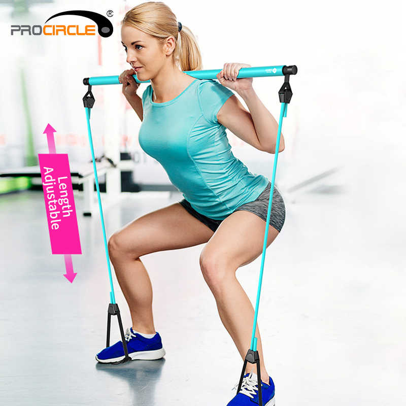 Procircle Pilates Bar Kit with Resistance Band Pilates Exercise Stick Toning Bar Fitness Home Yoga Gym, Body Workout