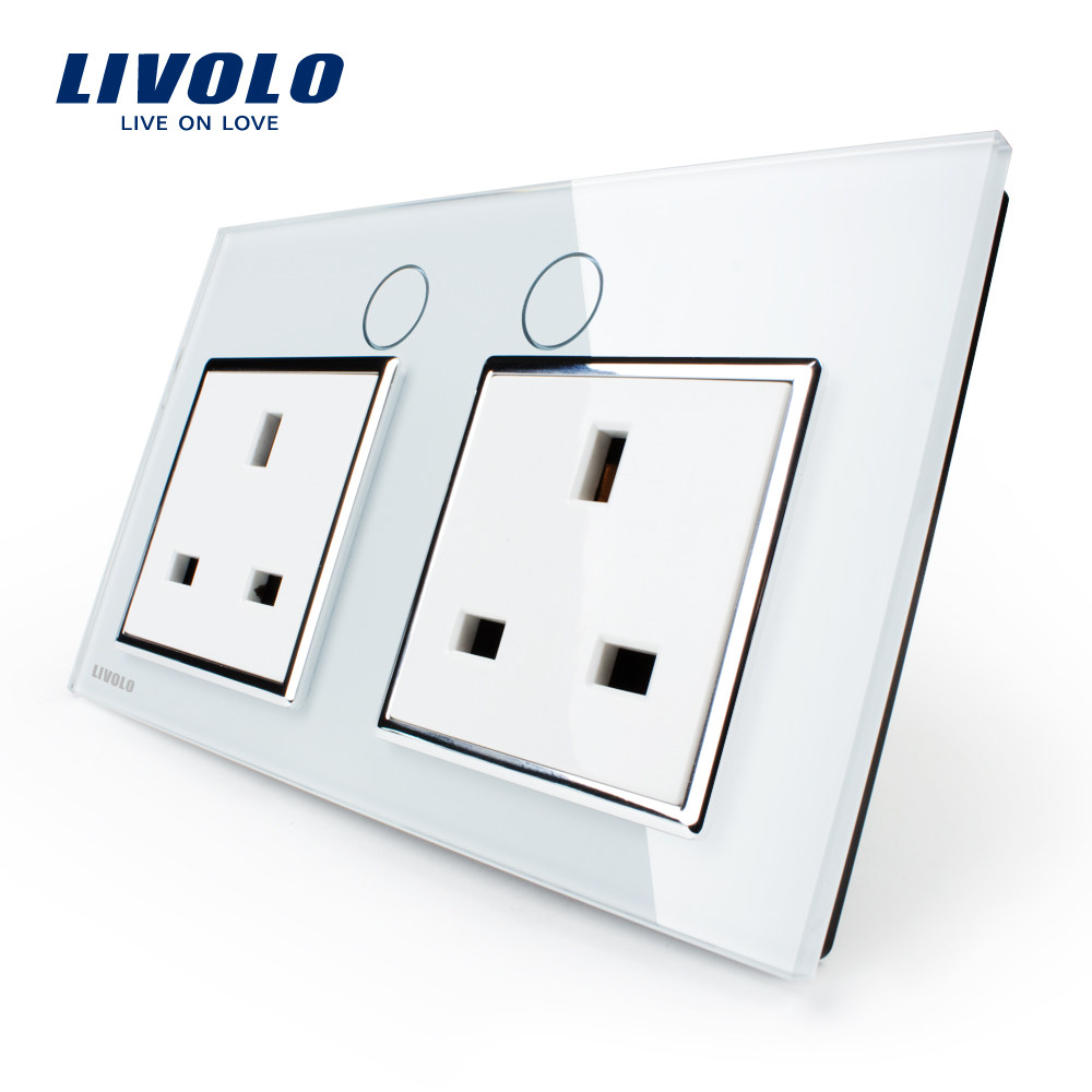 Livolo Manufacturer UK Standard Wall Power Socket, White Crystal Glass Panel, 13A Wall Outlet, VL-C7C2UK-11/12 british mk british unit power supply socket metal 13a power outlet british standard unit socket