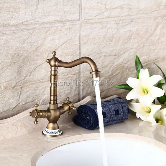Free shipping antique brass ceramic holder double wheel - Long bathroom sink with two faucets ...