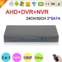 HI3531A XMeye 32CH/24CH 2 SATA 1080P/1080N/960P/720P/960H Three in 1 Hybrid NVR AHD DVR Surveillance Video Recorder Free Transport