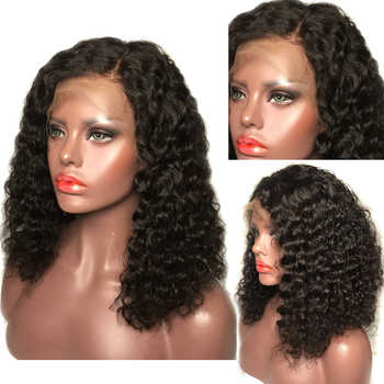 Deep Parting Curly Human Hair Wig Wet and Wavy 4*4 Lace Closure Human Hair Wigs Short Bob Wig Pre Plucked Brazilian Remy Hair