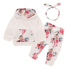 Wisefin Newborn Baby Girl Clothing Set Winter Floral Print Long Infant Girl Outfits Clothes Set Pocket Hoodie + Pants + Headband