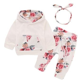 24dfe67ba Wisefin recién nacido bebé conjunto de ropa de niña de invierno larga  impresión Floral infantil trajes de niña ropa de bolsillo Sudadera con  capucha + ...