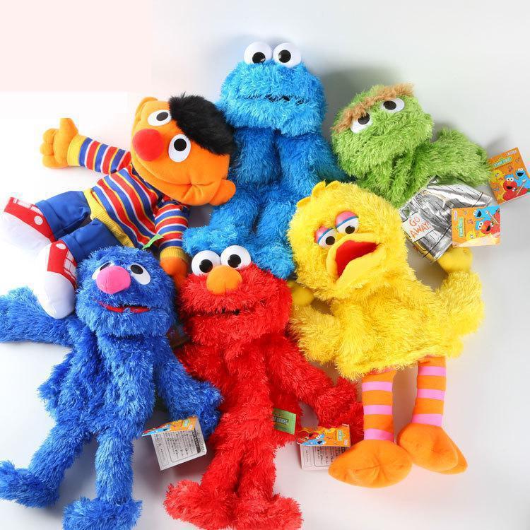 Sesame Street Hand Puppets 30cm Elmo Big Vird Cokkie Monster Anime Toys Soft Stuffed Toy For Baby Girls Kids Gift