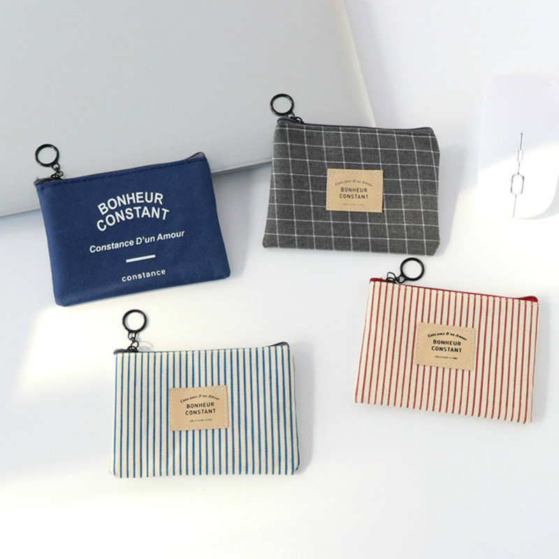 Coin-Purse Pouch Headset Small-Change-Bag Canvas Zipper Kids Children Women Stripe Unisex