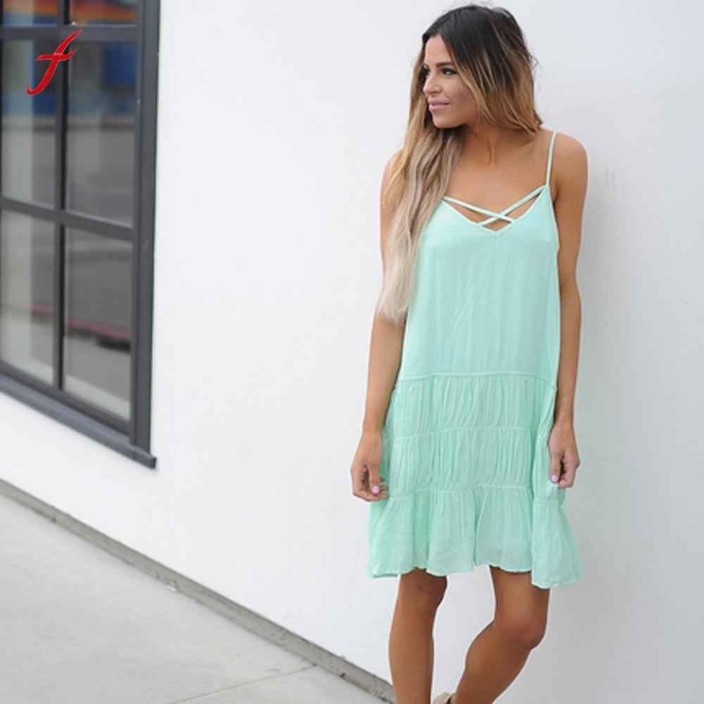 New Women Summer Dress Sexy Deep V-Neck Backless Chiffon Mini Dress Ladies Girs Solid Pleated Party Dress Vestidos Drop Shipping