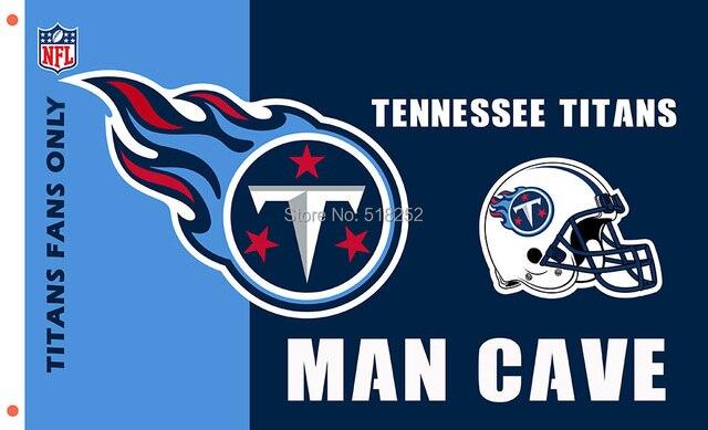 47f58d3a Tennessee Titans MAN CAVE avec casque Drapeau 3x5 FT 150X90 CM NFL Bannière  100D Polyester Personnalisé flag6, livraison gratuite dans Drapeaux, ...