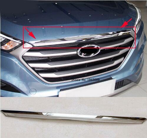 ACCESSORIES FIT FOR 2015 2016 Hyundai TUCSON TL CHROME FRONT HOOD BONNET GRILL LIP MOLDING COVER TRIM BAR GARNISH MESH factory outlet high quality car styling chrome tank cover for 2015 hyundai tucson chrome accessories