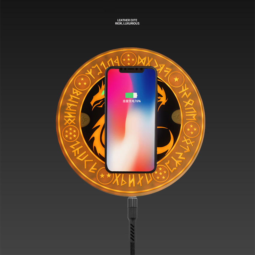 With Bluetooth Speaker QI 10W Fast Wireless Charger Dragon Ball Circle Magic Array Wireless Charger Pad Charging Cradle For Mi9 in Mobile Phone Chargers from Cellphones Telecommunications
