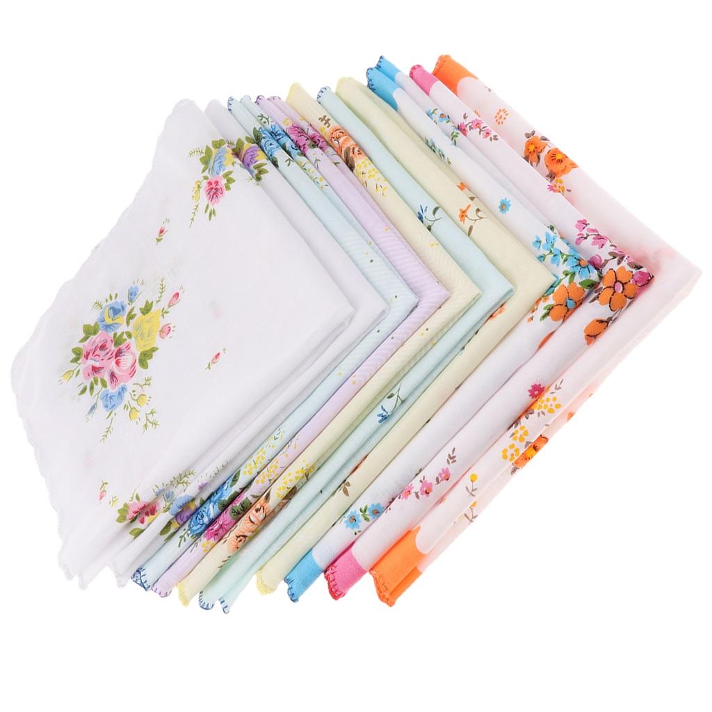 10x Women 100% Cotton Printed Handkerchief Hanky Kerchiefs Pocket Square Blossom Design With Wavy Edge Women Handkerchiefs
