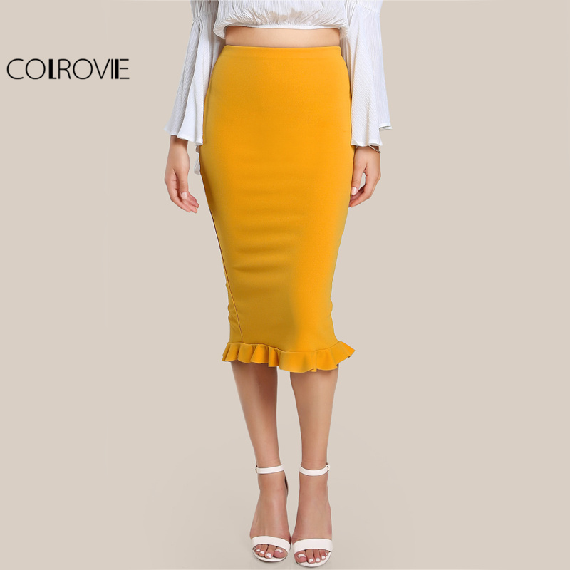COLROVIE Split Ruffle OL Pencil Skirt Women Yellow Sexy Slim Elegant Work Summer Skirts Fashion New Brief High Waist Skirt