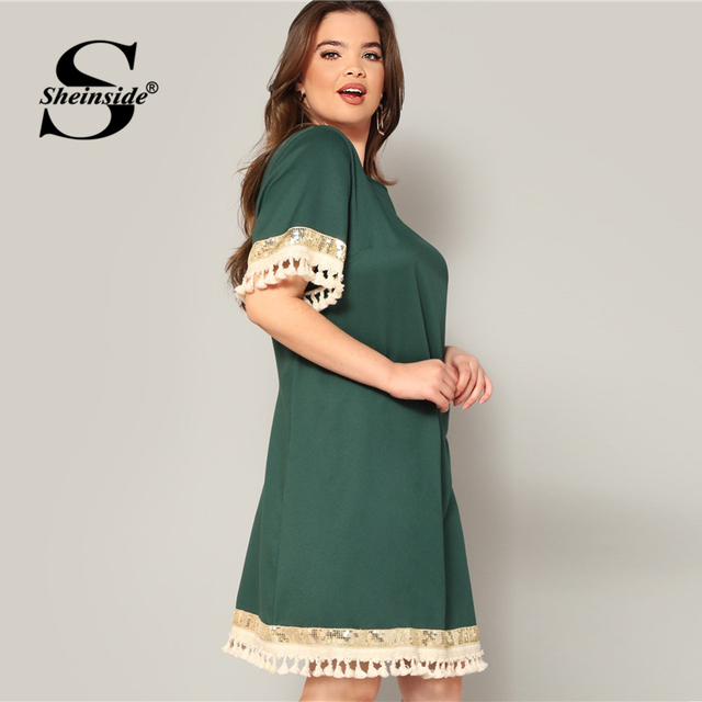 Sheinside Plus Size Elegant Sequin Detail Straight Dress Women 2019 Summer Fringe Sleeve Patchwork Dresses Ladies Midi Dress 1