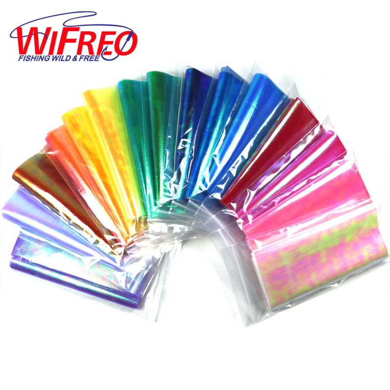 Wifreo 5bags X 15cmX110cm Strengthened Metalic Holographic Flash Film Durable Sabiki Fish Skin Film Assit Hook Wing Material wifreo 1 roll lure building jig squid skin holographic adhesive film sticker flash tape sabiki bait decal fly tying material