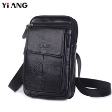 YIANG Shoulder Bags for Men Fashion Mobile Phone Crossbody Bag Genuine Leather Messenger Waist Belt 2018 Hot Sale