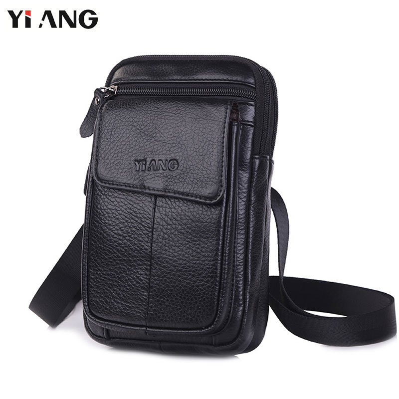 YIANG Shoulder <font><b>Bags</b></font> for Men Fashion Mobile <font><b>Phone</b></font> Crossbody Shoulder <font><b>Bag</b></font> Genuine Leather Messenger <font><b>Waist</b></font> Belt <font><b>Bags</b></font> 2018 Hot Sale