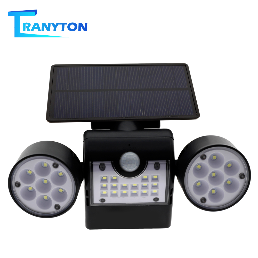 Solar LED Street Lights With PIR Motion Sensor Outdoor Double Head Wall Lamp For Garden Path Waterproof Energy Saving Spotlight