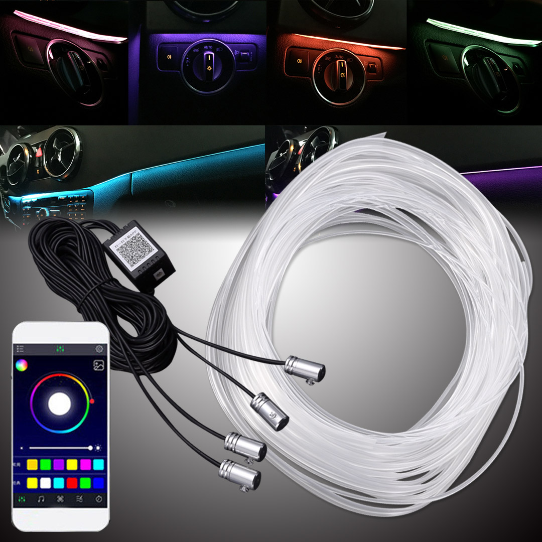 1 Set High Quality RGB LED Car Interior Neon EL Wire Strip Light Dashboard Colorful Atmosphere Lamp Sound Active APP Control Kit g126y 2pcs red led light 25 31mm spst 4pin on off boat rocker switch 16a 250v 20a 125v car dashboard home high quality cheaper
