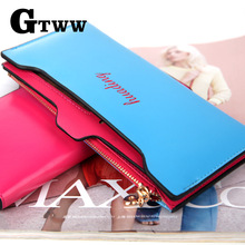 2017 New arrival high quality fashion brand wallet vintage soft PU leather purse long women wallet clutch with coin phone bag