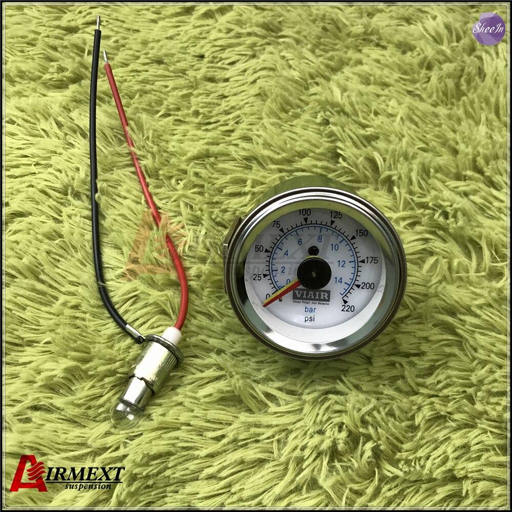 VIAIR Doppio puntatore manometro DUE aghi 0-220PSI faccia bianca barometro pneumatico aria di sospensione corsa air bag di pressione