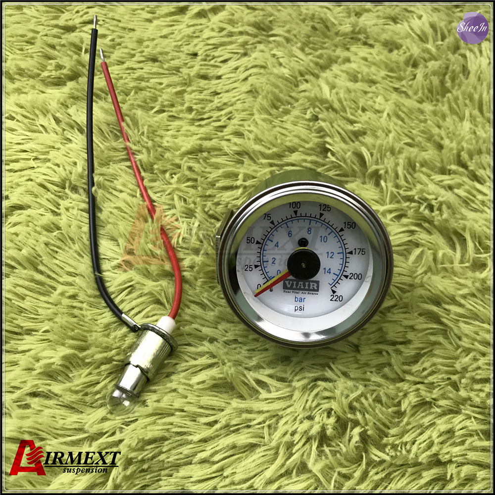 Viair Dubbele Pointer Air Gauge Dual Naalden 0-220PSI Wit Gezicht Barometer Pneumatische Vering Air Ride Airbag Druk