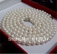 "hot free Shipping new 2015 Fashion Style diy perfect Akoya white 6-7mm pearl necklace 36"" long MY4511"